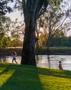 Kids playing at the river in Albury