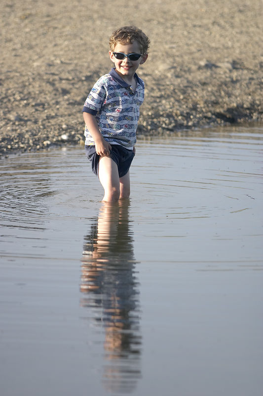 July 2005 - Jacob goes wading at Cheney Lake. This kid loves water.