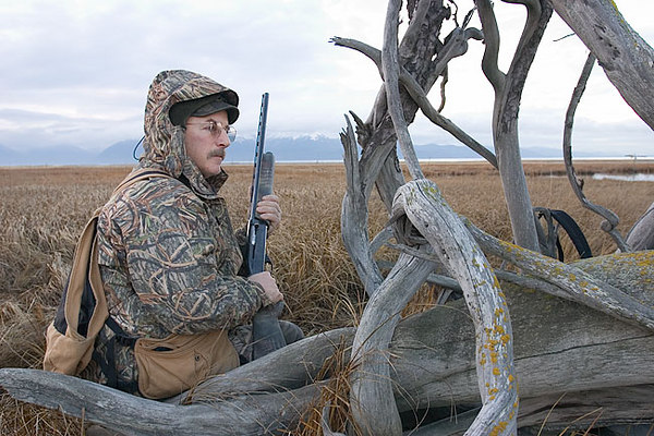 My hunting partner Jim Lavrakas watches the decoys while duck hunting.