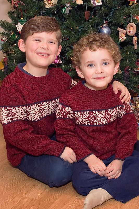 Erik and Jacob pose before the tree on Christmas Eve.