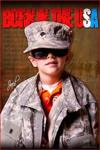 Three composites: Jared, Army Creed, Iraq desert photo