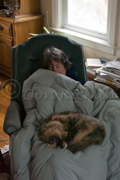 Nap time for my Wife and Squeak the cat.