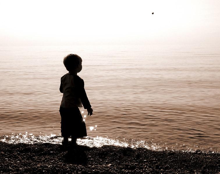 Throwing Stones at Sedar Bay, MI (Ben) - 2004