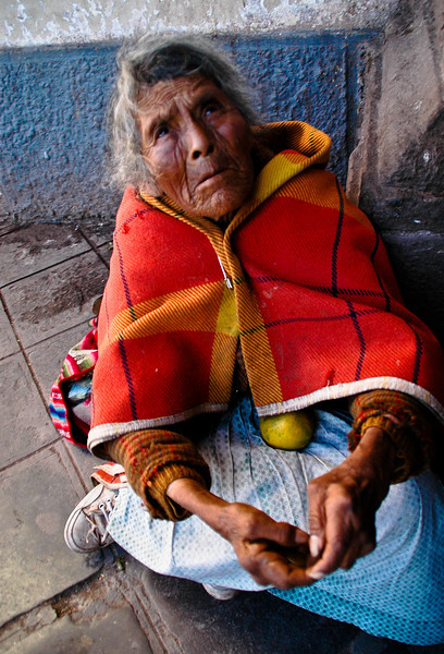 Woman begging, Cuzco, Peru, 2010.