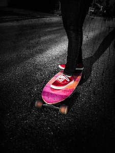 Glad that my daughter got a long board, it makes photo opportunities! If I stretch it, one could see two sticks on a board!