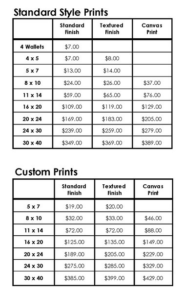 "<h2>ENLARGEMENT PRICING</h2><h3>(click on price list for larger view)</h3> <span style=""color:darkgray"">There is a wide variety of options when it comes to your final prints and enlargements.  You can order anything from wallets to 30x40 custom canvas prints and virtually anything in between.    We control every aspect of the printing process to ensure you receive the highest quality enlargements.  All enlargements are printed on a high-end professional printer with premium papers, archival inks and they are lacquer sprayed for added protection which gives them a lifespan of 80 to 100 years.  We retouch all enlargements to eliminate most blemishes, eyeglass flare and other imperfections.  If need be we have the option for custom computer retouching to open eyes, swap heads or expressions or add individuals to a group shot.  This custom computer work pricing may vary based on the complexity of the changes.  You also have a number of options when it comes to the style and finish of your prints.  All photos are captured as extremely high-quality, large digital files in the color mode.  As a result you can have prints made in color, black & white, sepia toned, colorized, soft focus or any number of custom print styles.  You have the option of several different finishes which include standard lacquer sprayed, textured lacquer sprayed or custom canvas.    Standard Prints include color, black & white, sepia toned, antiqued, pastel, soft focus or vignetted.  Custom Prints include selective color as well as prints requiring significant computer reworking such as opening eyes and head swaps.    All enlargements 11 x 14 and larger are mounted on mat board and are ready for framing.   All canvas enlargements are printed on canvas material and mounted on extra heavy mount board."