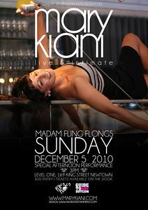 Mary Kiani show poster. Design by Robert at AKA Entertainment | Photographs by Mark Dickson - Deep field Photography | shoot location: SLIDE restaurant |