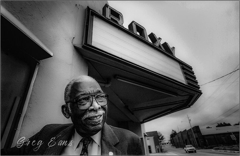 "The late <a href=""https://www.ncpedia.org/garrett-denison-dover"">D. D. Garrett</a> (1915-2011), African American civil rights pioneer, at the Roxy Theatre in Greenville, NC."