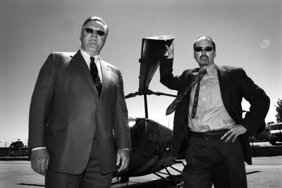 Terry O'Reilly (left) and Michael S. Danko, attorneys specializing in aircraft lawsuits, at the San Carlos airport.