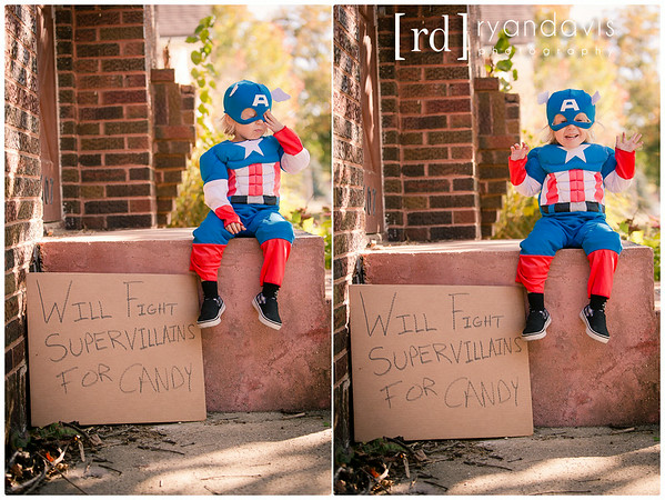 Felix in his Captain America Halloween costume before trick or treating