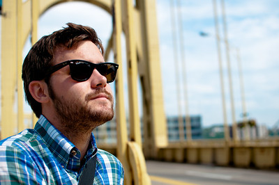 Brian Wright on the Andy Warhol  Bridge in Pittsburgh. August 2012.