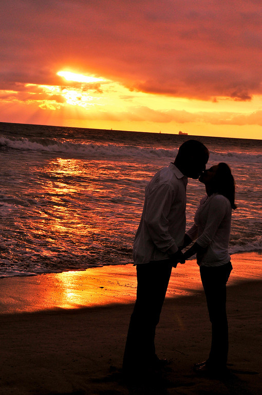 Engagement photo. Manhattan Beach, CA.