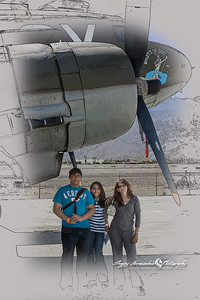 Darlene, Kethan & Vasantha with a Douglas C-47 Dakota, Palm Springs Air Museum, Palm Springs, California March 30, 2010