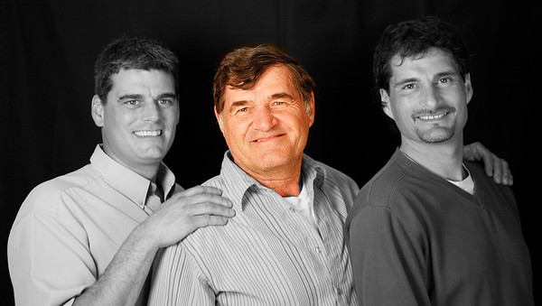 Bernie Duval with two of his sons, Kevin (left) and Rodney (right)