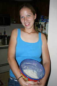 Abby with her no-knead bread.