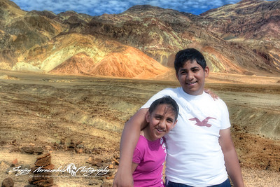 Kethan & Vasantha Artists Palette in Death Valley National Park, California, April 7, 2009