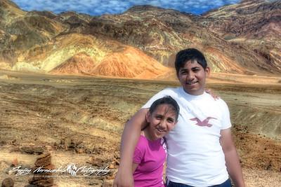 Kethan & Vasantha Artists Palette in Death Valley National Park, California, April 7, 2009