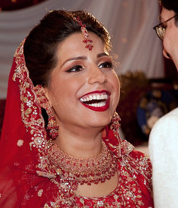 A happy bride at her wedding, London, UK
