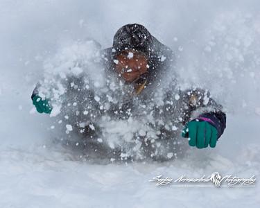Kethan bombing through snow in PEI, Canada 2007