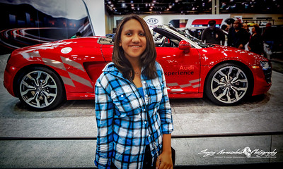 Vasantha with a 2012 Audi R8 Spyder, Houston Car Show, January 28, 2012