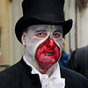 WHITBY, UK - NOV 4: A man in top hat and macabre face painting celebrating the famous Goff Weekend at Whitby, England on November 4, 2012.