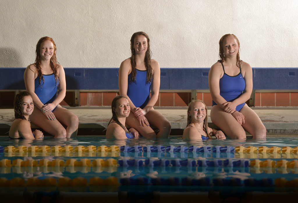 Justin Sheely | The Sheridan Press<br /> On a team with just 15 swimmers, the Sheridan squad features three sets of sisters. The siblings are competitive with each other and carry that competitiveness against the top swimmers in the state. Pictured from left to right: Olivia Thoney, Alicia Thoney, Pippin Robison, Zoe Robison, Molly Green and Libby Green.