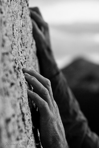 Ron Kauk's Hands on Granodiorite above Tuolumne Meadows, Yosemite National Park, CA.   For decasdes, Ron has been widely known as one of the world's best climbers, especially in Yosemite.  This portrait depicts more than a traditional facial portrait as it focuses on his strong, weathered hands, his connections to the Earth and Yosemite.