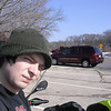 Me at a rest stop off 43 in Wisconsin.  Installing additional warm innards to my jacket.  (read: It was cold out)
