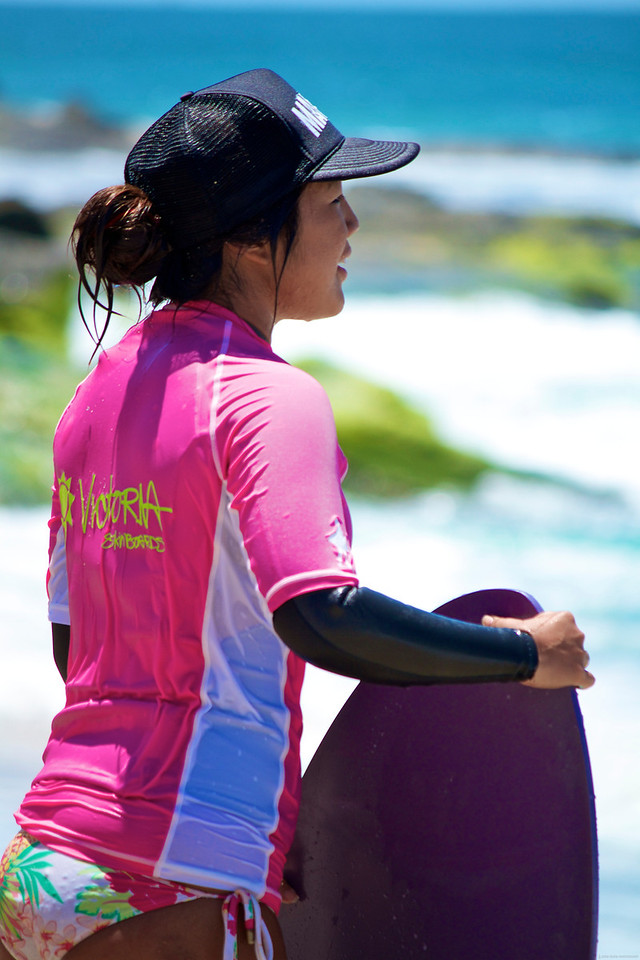 Niki checking out the latest set of wave action.