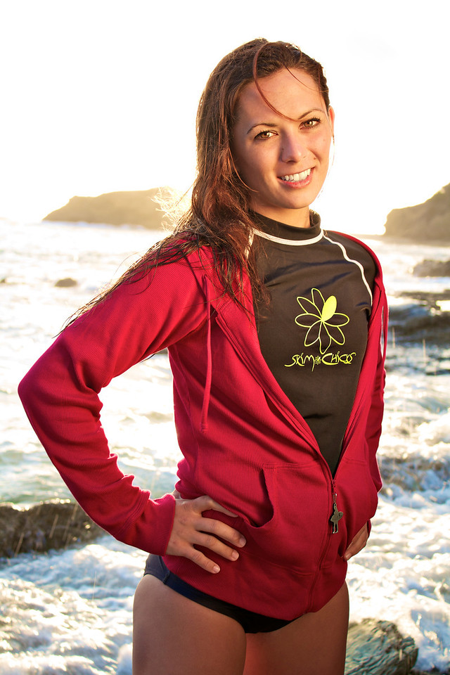 This is Heather who flew in from Kihei, Hawaii. She is modeling the skim Chicks 'Rash Guard' top and red hoodie with zipper pull.
