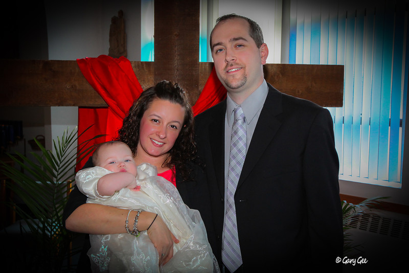 Sophia, Michelle & Kevin at Sophia's Baptism - March 24th, 2013