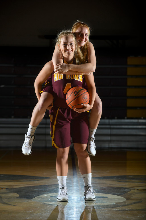 Justin Sheely | The Sheridan Press<br /> Big Horn Lady Rams basketball players Abby Buckingham and Emily Blaney are this year's Winter Sports Female Athletes of the Year. The seniors started their friendship in first grade. That friendship blossomed into a commitment to each other and to the Lady Rams basketball team, one that culminated in a state championship in their final game together.