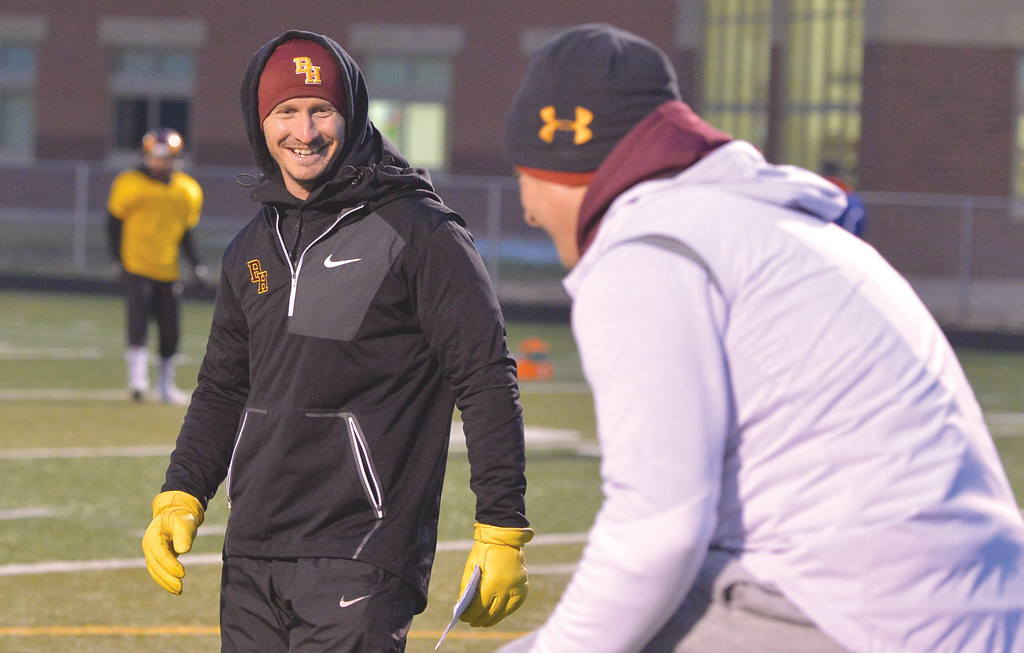 Justin Sheely | The Sheridan Press<br /> Assistant coach Colter Brantz during practice Wednesday at Big Horn High School in preparation for the 1A state championship.