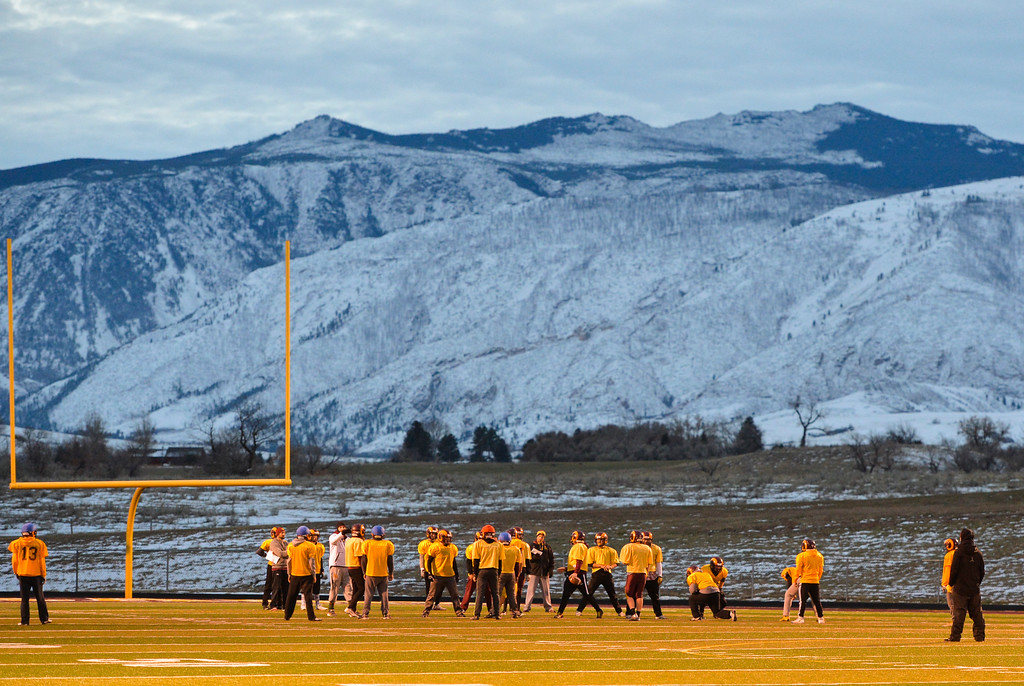 Justin Sheely | The Sheridan Press<br /> The Rams football team practices Wednesday at Big Horn High School in preparation for the 1A state championship.
