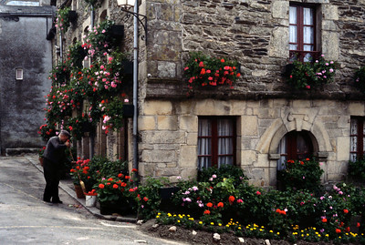 Shopkeeper with flowers. Rochefort, France. May, 1983.