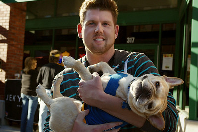A man and his dog - Octoberfest, downtown Springfield, MO, 10/1/11.