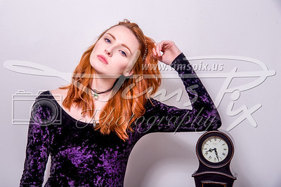 Red hair and clock