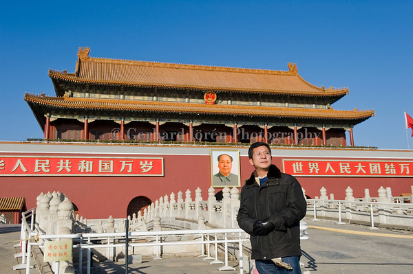 Ma Shaofang, a former Tiananmen student leader, in front of the Tiananmen Gates, next to Tiananmen Square in Beijing.  On Monday, January 12th, 2009. He normally lives in Shenzhen, in southern China