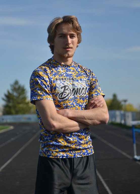 Justin Sheely | The Sheridan Press<br /> Sheridan senior Tymer Goss is poses for a portrait at Sheridan High School Friday, May 4, 2018. Goss has come a long way since he ran 2 minutes, 17 seconds in the 800-meter dash up in Billings as sophomore.