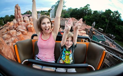 My son Tristan, and wife Samantha - Riding Big Thunder Mountain, at Magic Kingdom, FL