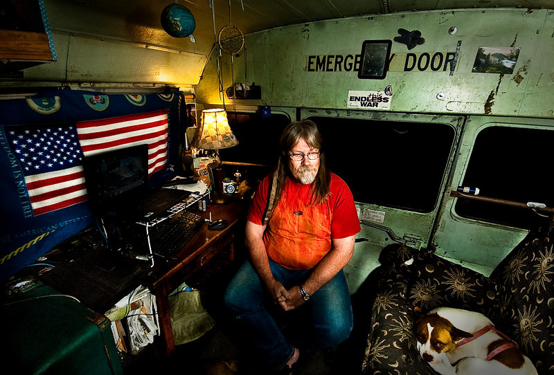 Man living in a bus, Santa Barbara, California, 2010.