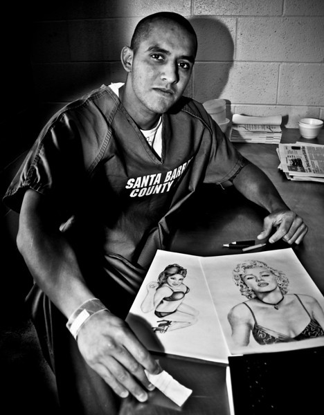 Inmate with drawings, Santa Barbara County Jail maximun security, California, 2010.