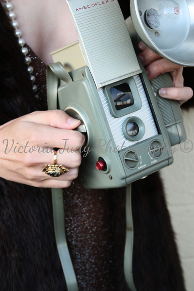 Medium Format -  November 2010<br /> <br /> Mink - 1940's<br /> Camera - 1950's<br /> Dress and Jewelry - 1960's