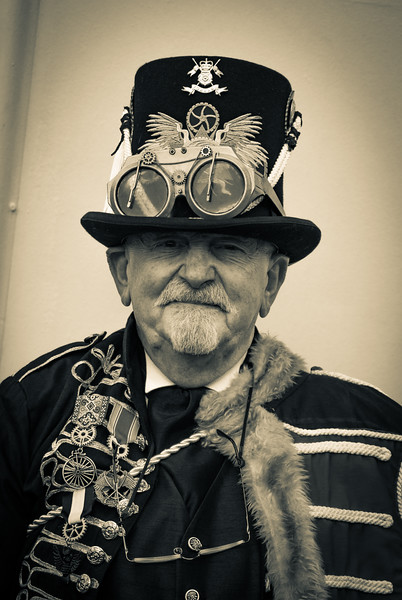 WHITBY, NORTH YORKSHIRE, ENGLAND, UK - SEPTEMBER 29, 2017: Participants dressed in steampunk/ and goth attire at the Whitby Goth festival in Whitby, North Yorkshire, England UK in September 2017.
