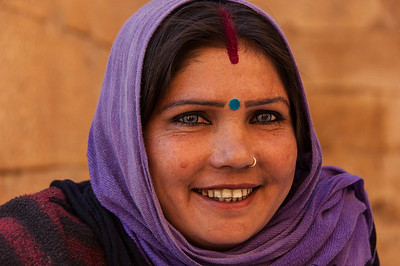 Unbelievable eyes. They are for real! A gypsy selling jewelry in Jaisalmer Fort.