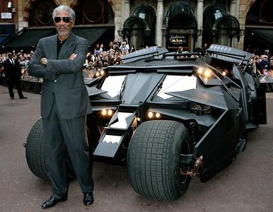 Batman Begins premiere, Odeon, Leicester Square. Morgan Freeman with the new Batmobile. Photo: Edmond Terakopian