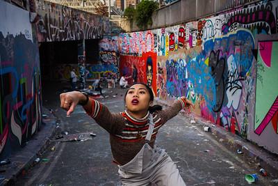 Contemporary Dancer Zunnur Zhafirah (Zee) in the graffiti covered tunnels known as the Waterloo Vaults, Leake Street, London, United Kingdom. April 19, 2017. Photo: Edmond Terakopian