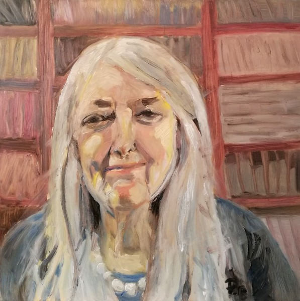 Professor Mary Beard, Oil on aluminium. Created as part of Sky Arts Portrait Artist of the Week competition.