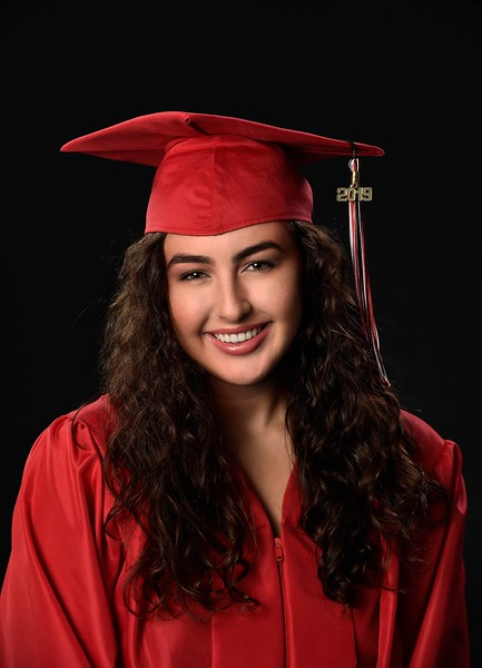 Hannah Zerarka Senior Graduation Photos Red in Black
