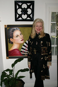Morgan in her studio with the FAN GIRL  painting